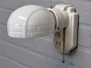 Vintage Antique Art Deco Retro Subway Tile Porcelain Wall Sconce Vanity Light