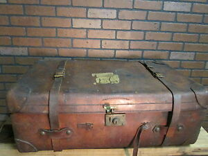 Antique Signed Brooks Brothers Leather Trunk Suitcase Luggage 35 X 20 X 13