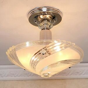 436z Vintage Art Deco Ceiling Light Lamp Fixture Glass Re Wired 1 Of 3
