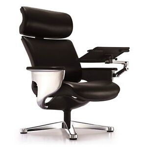 Eurotech Nuvem Leather Lounge Executive Chair W Ottoman tablet Arm Blk Or Wht