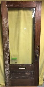 Antique Arts Crafts Wood Exterior French Entry Door W Beveled Glass 34x80