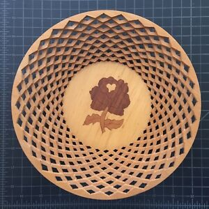 Vtg Wooden Bowl Plate Turned Hungarian Inlay Kalocsa Rose Hand Made Ooak 9 Inch