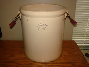 Crock Antique 5 Gallon Blue Crown Stoneware Robinson Ransbottom Red Bail Handles