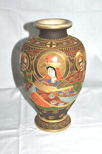 Antique Japanese Moriage Gilded Satsuma Immortals Vase 12 T
