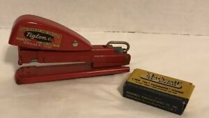 Rare Red Markwell Stapler Sx Pacemaker W Staples Vintage 1949 Mid Century Works