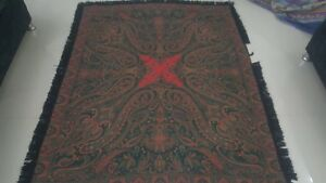 Antique French Paisley Kashmir Square Piano Shawl Wool Size 54x70 Good Condition