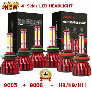 4sides 9005 9006 H11 240w 24000lm Led Headlight Kit Hi lo Beam fog Light 6500k