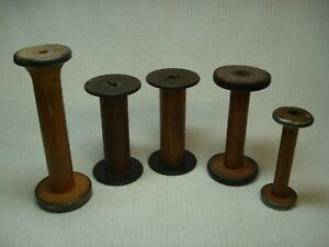 Antique Vintage Wood Spools Bobbin Thread Spindle Sewing Candle Holder Wooden