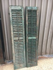 Pair C1890 Louvered Green Window House Shutters Central Ct 60 X 12 25 X 1 25
