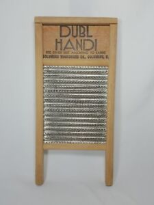 Vtg Dubl Handi Washboard Columbus Ohio Wood Metal Travel Size Laundry Musical