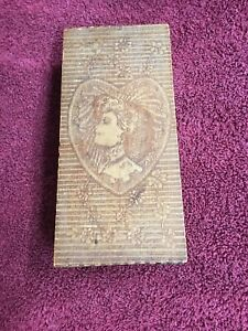 Vintage Old Pyrography Burnt Wood Dresser Box Heart W Cameo Of Lady Flowers
