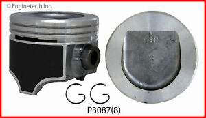 Enginetech P3087 8 030 Piston Gm Olds 5 0l 307 Coated Skirt Replaces P3006
