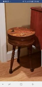 Vintage Large Round Wooden Cheese Pantry Sewing Box Table W Removable Legs