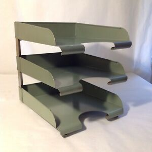 Vintage Mid Century 3 tier Hamilton Skyline Metal Stacking Desk File Trays