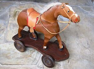 Antique Wooden Horse 1900 20 H Pull Toy Athco Us Wood Platform