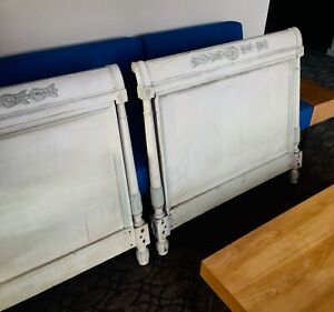 Antique Swedish Gustavian Painted Carved On Both Sides Of Daybed Shabby Chic