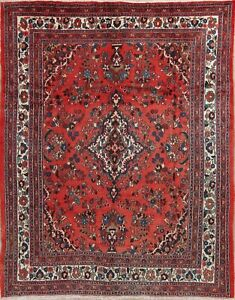 Persian Wool Rug Hamedan 8x10 Hand Knotted Floral Red Oriental Area Rug Caepet