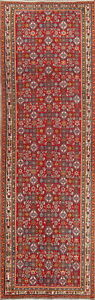 Antique Old Collectable 4x13 Wool Palace Size Kashkoli Oriental Runner Rug Red