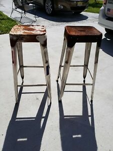 Machine Age Style Metal Bar Stools With Cowhide Seat Covers