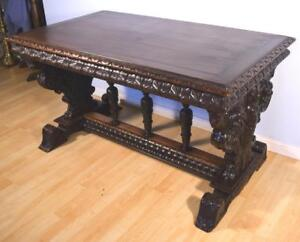 French Antique Renaissance Revival Library Table Desk In Walnut
