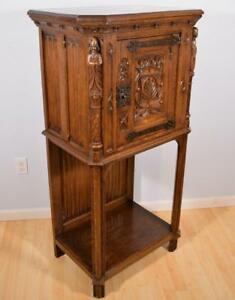 French Antique Gothic Revival Cabinet On Stand Bar Cabinet