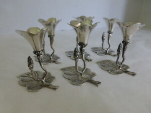 6 Vtg 800 Silver Posey Holder Place Cards Floral Repousse German Free Ship Us