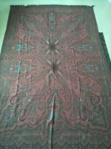 Antique French Paisley Kashmir Square Piano Double Side Shawl Wool Size 85 By58