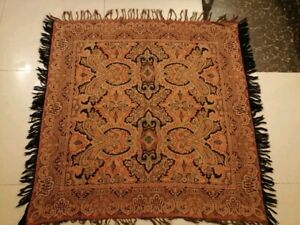 Antique French Paisley Kashmir Square Piano Shawl Wool Size 45x44 Good Condition