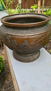 Japanese Bronze Large Bowl With Ornate Detail To Surround Heavy Item