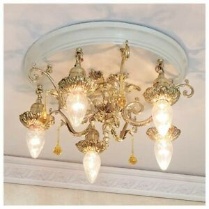 466b Vintage 20s 30 Ceiling Light Art Nouveau Polychrome Chandelier Antique