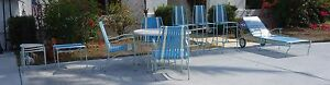 Mid Century Faux Bamboo Aluminum Patio Set Teal Blue Amazing 3 Bar Stools