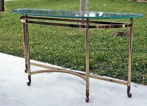 Vintage Brass Hollywood Regency Entry Foyer Table W Beveled Glass