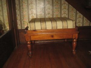 Antique Foot Stool Ottoman Pine With Tray Handles And Removable Cushion
