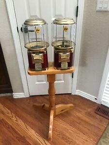 Double Barrel Bulk Candy Gumball Vending Machine With Wood Stand Ruby Red
