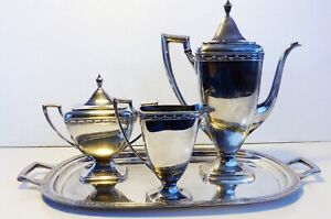 Silver Plated Tea Coffee Service Set Vintage Each Piece Has Initials Wef