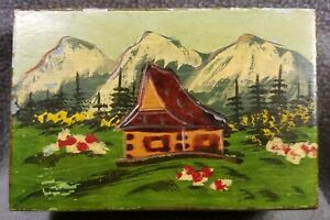 Vtg Bulgarian Hand Carved Painted Wood Box W Alps Mountains Signed Bladowski