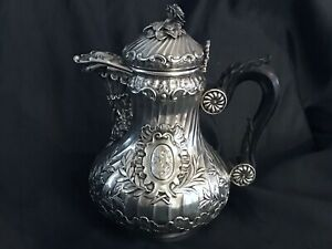 Antique Art Nouveau Boin Taburet Paris Sterling Silver Coffee Pot Hand Chased