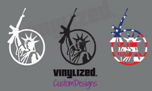 Statue Of Liberty Gun Vinyl 3 Er Decal Sticker 2nd Amendment Ar15 2a Lady 3 Usa