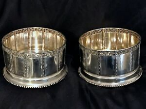 Pair Art Deco 800 Silver Wine Coasters Made For Large Bottles Marked Rare