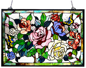Tiffany Style Stained Glass Window Panel Butterfly Roses Last One This Price