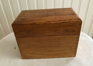 Vintage Oak Recipe Box Index Card Box Dovetail Wooden Holds 3 X 5