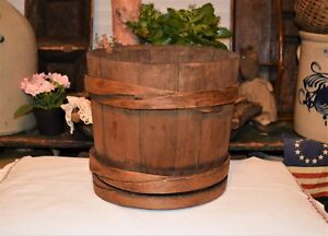 Early Antique 1700 1800 S Staved Cooper Wooden Bucket Aafa 3 Lapped Wood Ringers