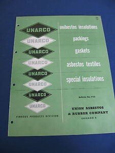 Unarco 1950 s Catalog Union Asbestos Rubber Co Packing Insulations Gaskets