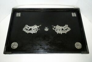 Antique Chinese 19th Century Lacquer Tea Tray Inlaid Silver Dragons Japanese