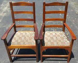 2 Antique Wood Ladder Back Dining Accent Armchair Rustic Pegged No Nails