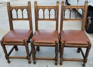 3 Antique Hand Carved California Spanish Mission Leather Dining Chairs