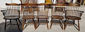 6 Vtg Colonial Windsor Farmhouse Nichols Stone Style Dining Chairs 2 Arm 4 Side