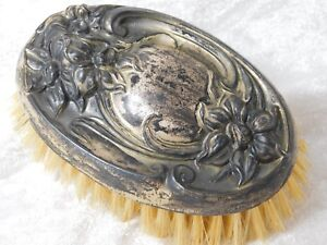 Atq Victorian Repousse Flower Sterling Silver Hair Brush