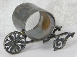 Atq Victorian Pairpoint Wheelbarrow Figural Silverplate Napkin Ring