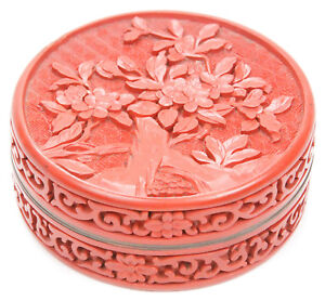 Vintage Chinese Carved Cinnabar Lacquer Round Scholar S Box Flowers Republic Old